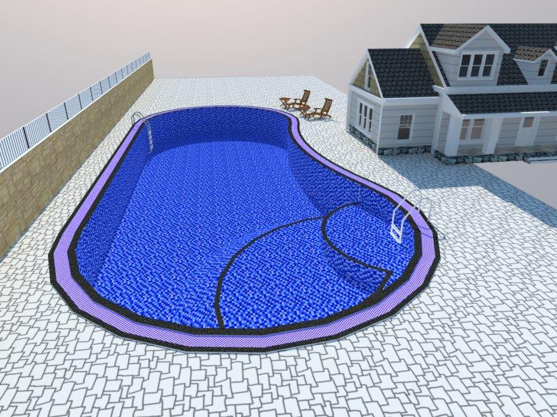 Bản vẽ phối cảnh thiết kế bể bơi 06