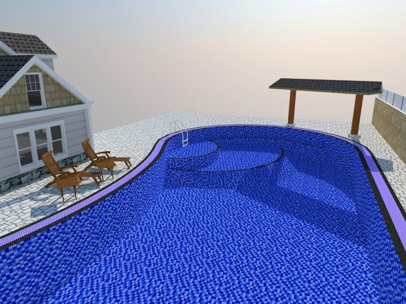 Bản vẽ phối cảnh thiết kế bể bơi 07
