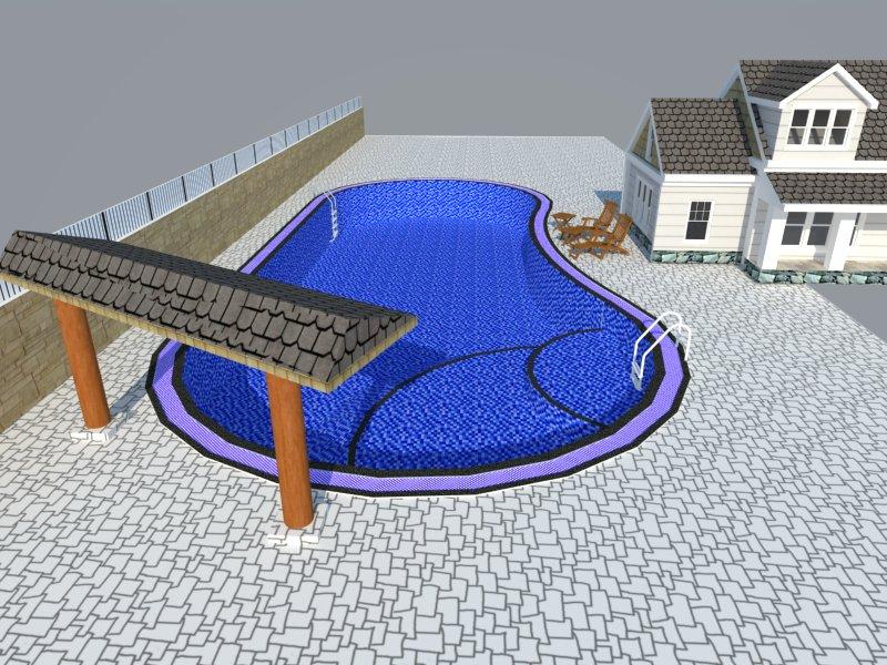 Bản vẽ phối cảnh thiết kế bể bơi 08