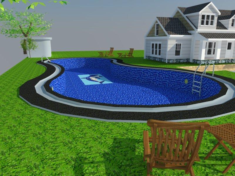 Bản vẽ phối cảnh thiết kế bể bơi 09