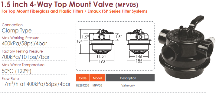 Basic features of the MPV05 valve